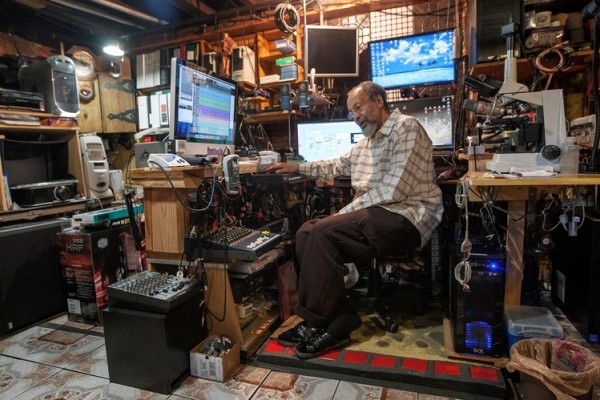 Milford Graves in his basement.